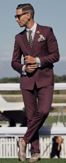 stripped maroon suit