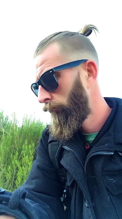 top knot with beard