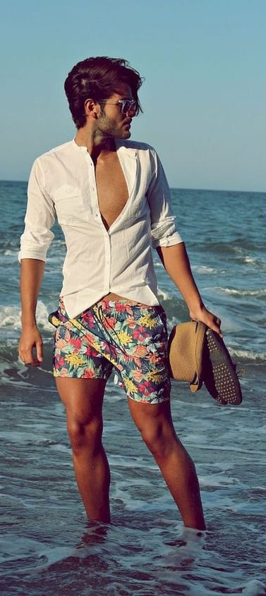 beach outfit men- printed shorts and shirt