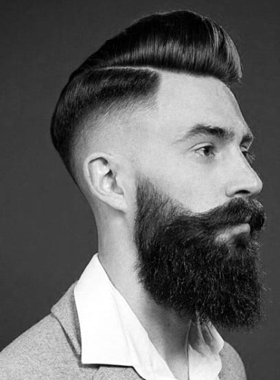 skin fade pomp with beard