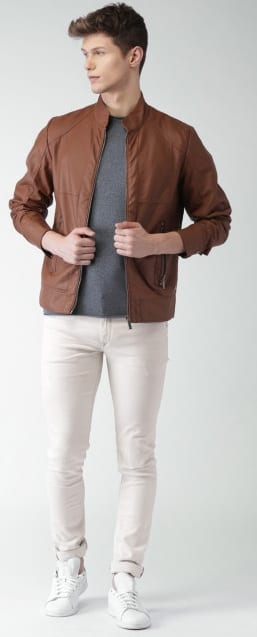 white denim with biker jacket