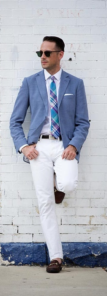 white denim with blazer