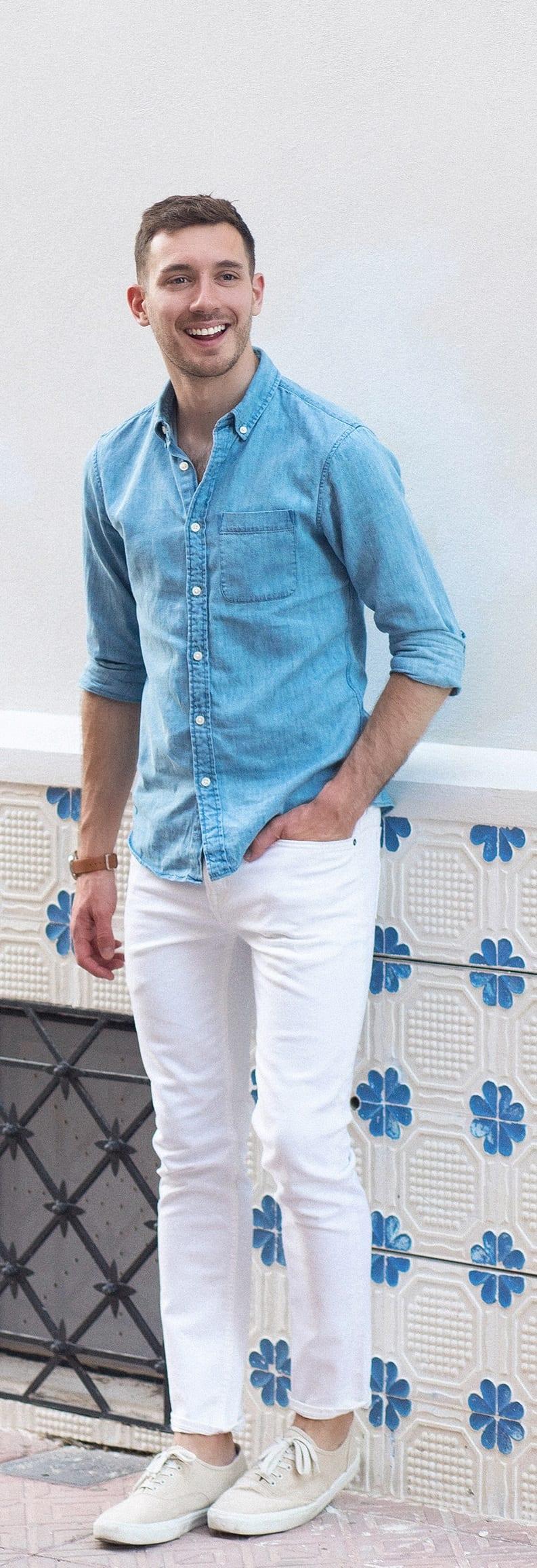 white denim with long sleeve shirt