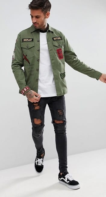 Military Jacket Patch Outfit For Men