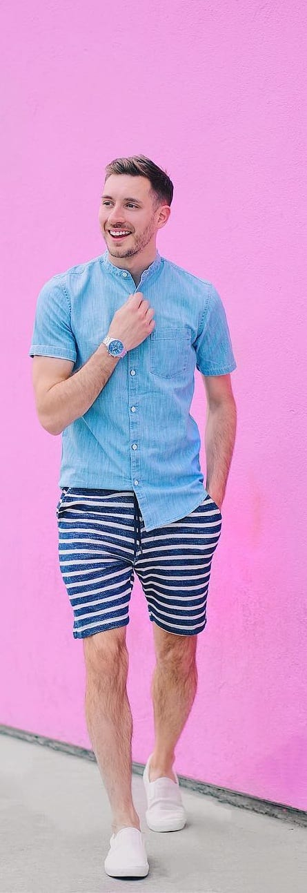 Denim Shirt With Stripped Shorts For Men