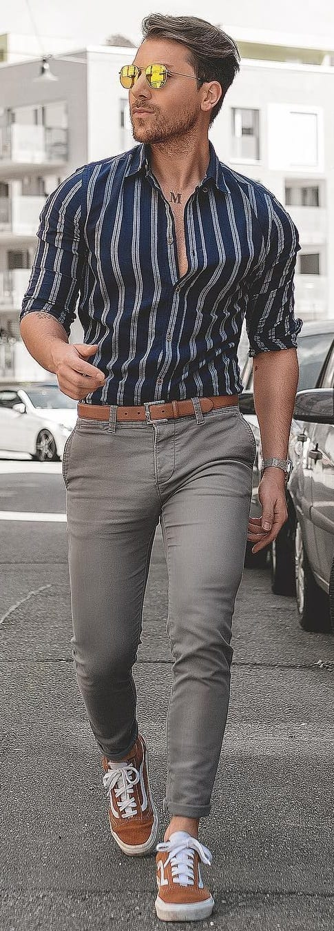 Striped Shirt With Chinos Outfit Ideas For Men