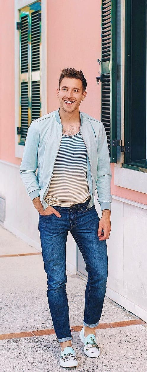Striped T-shirt With Bomber Jacket Outfit Ideas For Men