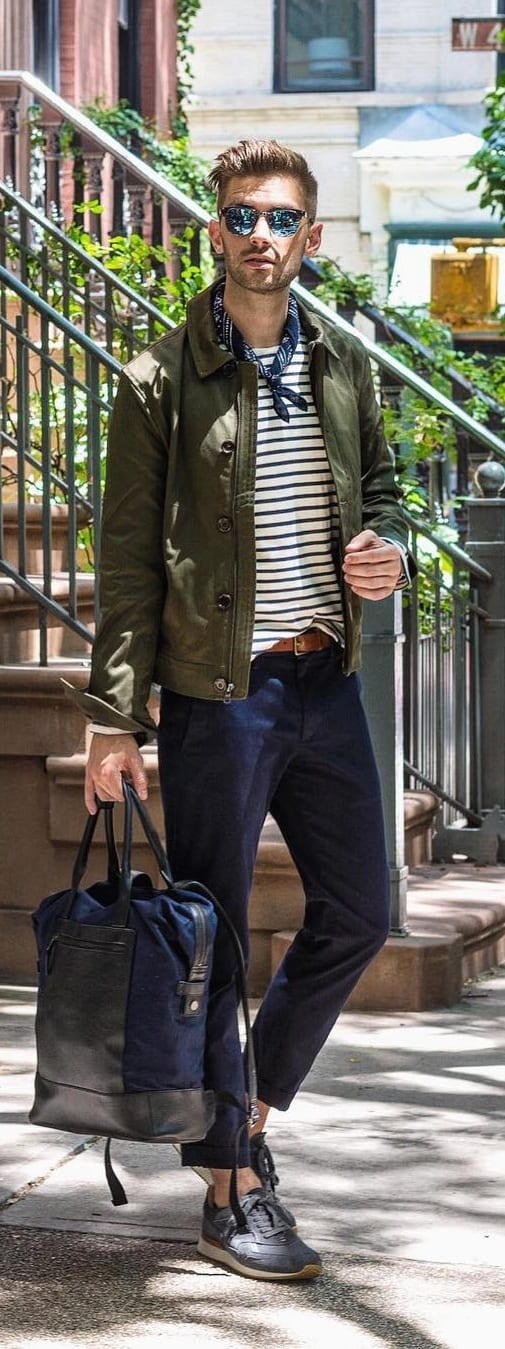 Striped T-shirt With Jacket Outfit Ideas For Men