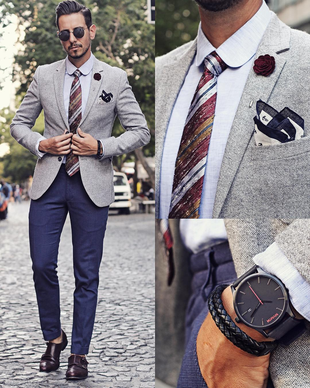 Suit Watch And Pocket Square Combinations For Men