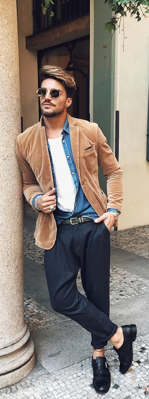 White T-shirt With Corduroy Jacket Outfit Ideas For Men