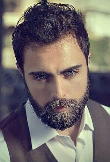 classy short beard with messy hair