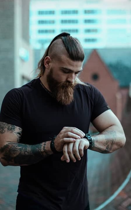 long beard with undercut ponytail