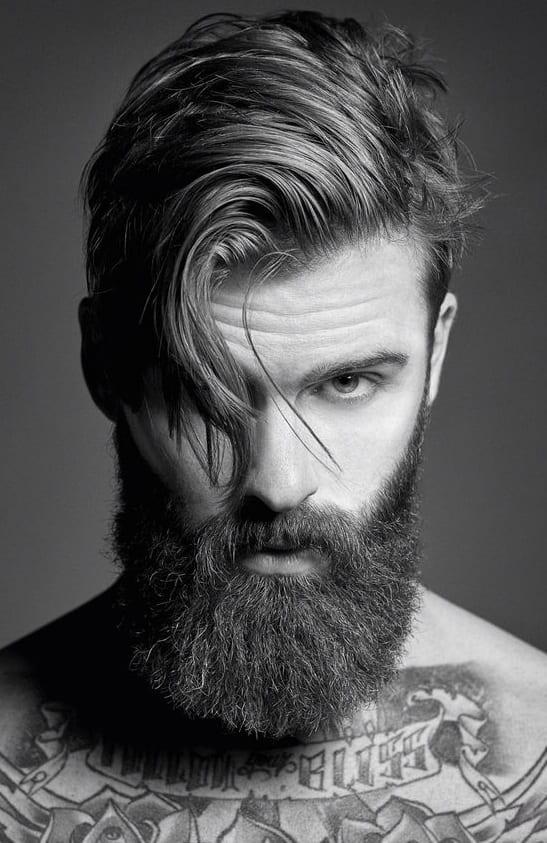 medium beard styles with side part hair