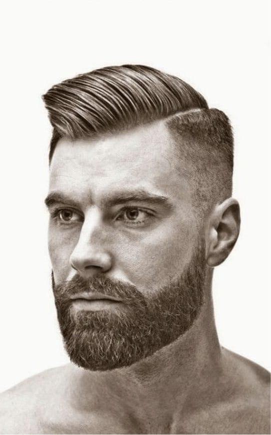 short beard with modern pompadour