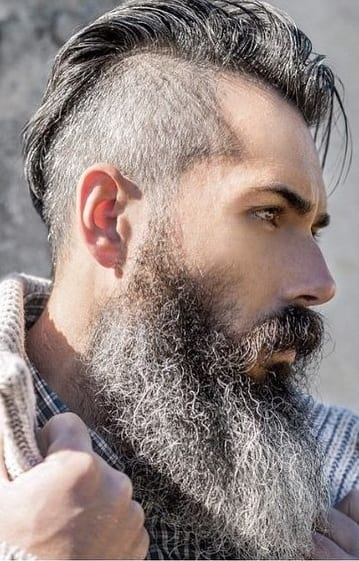 slick back hairstyles with long beard