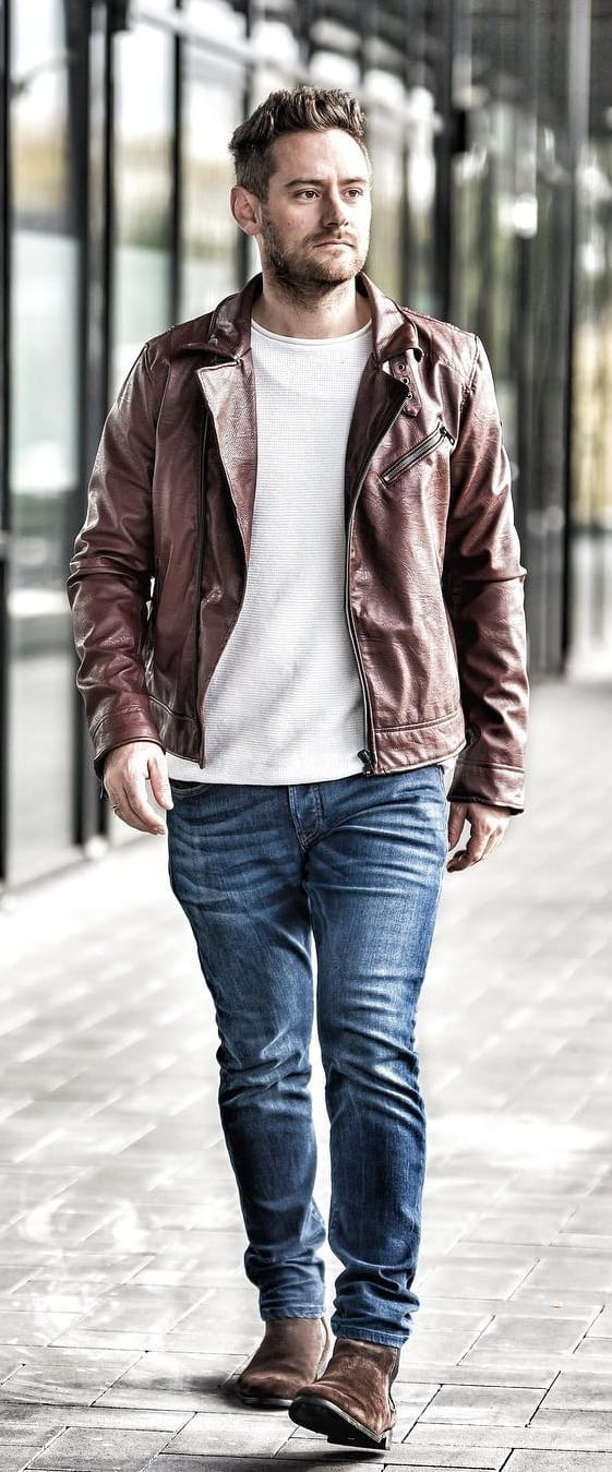 Amazing Leather Jacket Outfit Ideas For Men