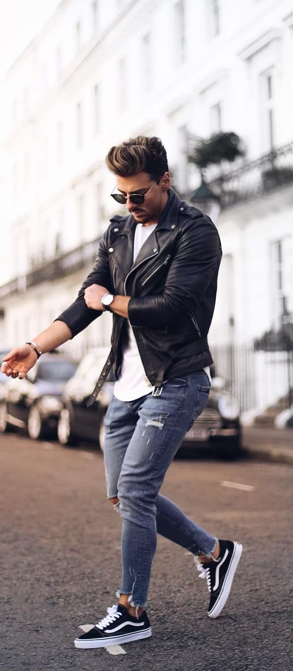 Street Style Leather Jacket Outfit Ideas For Men