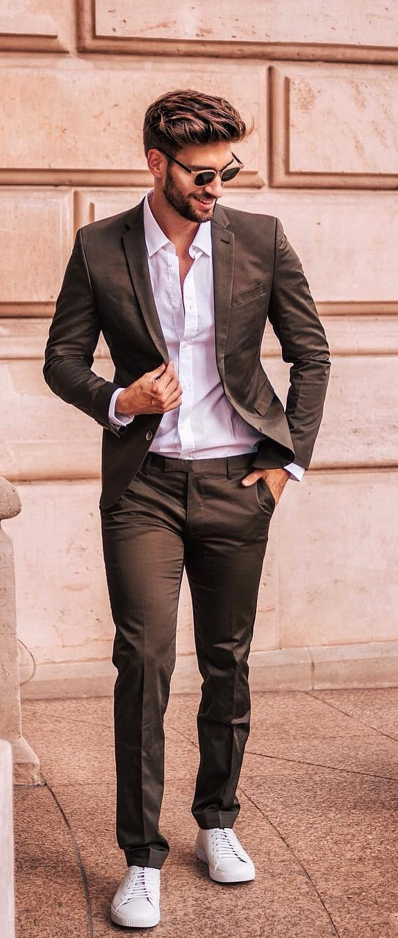 Cool Suits With Sneakers Outfit Ideas
