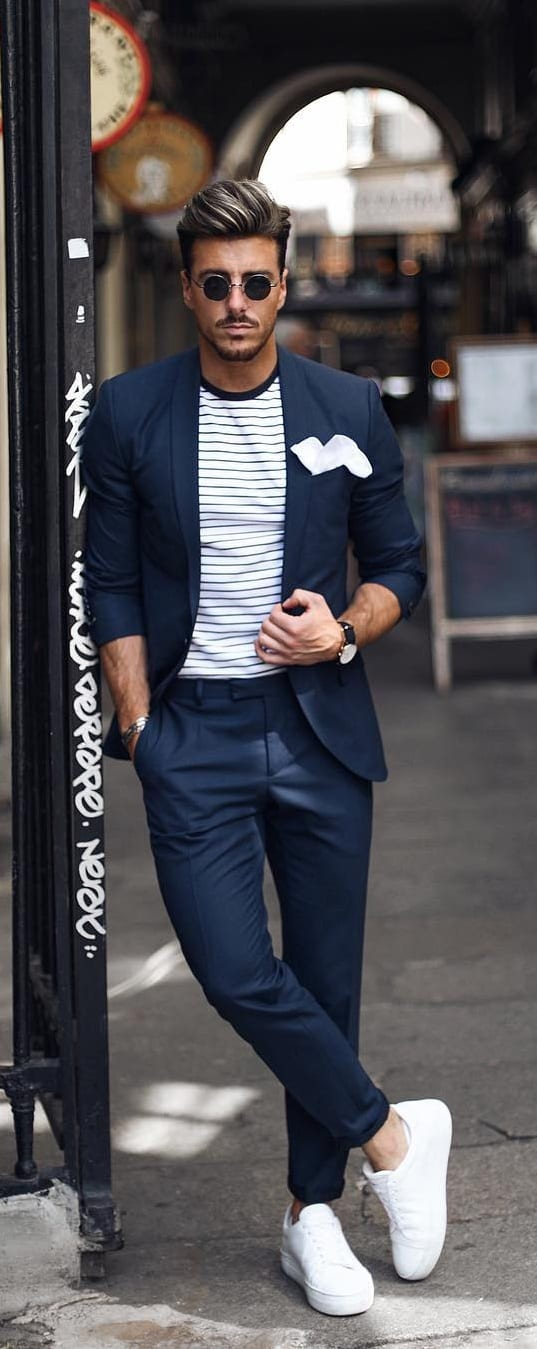 Suits With Sneakers Outfit Ideas