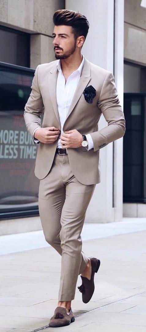 Khaki Suit Outfit Ideas