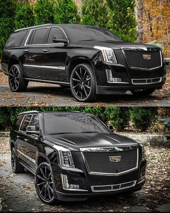 BLACK MODIFIED CADILLAC SUV