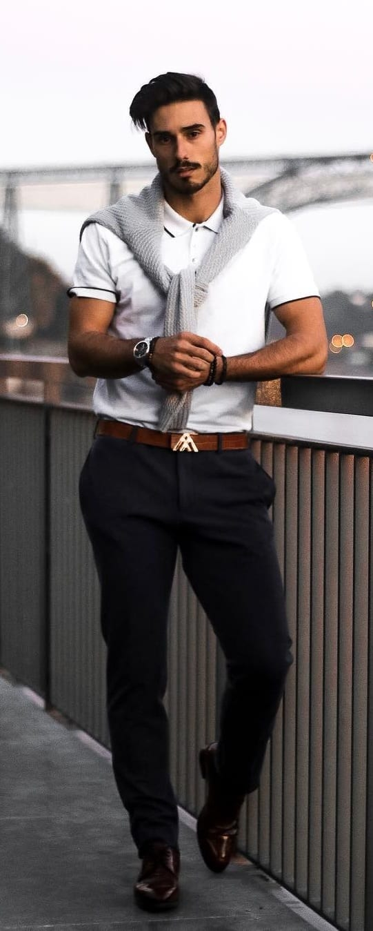 Polo T-shirt Outfit Ideas For Men