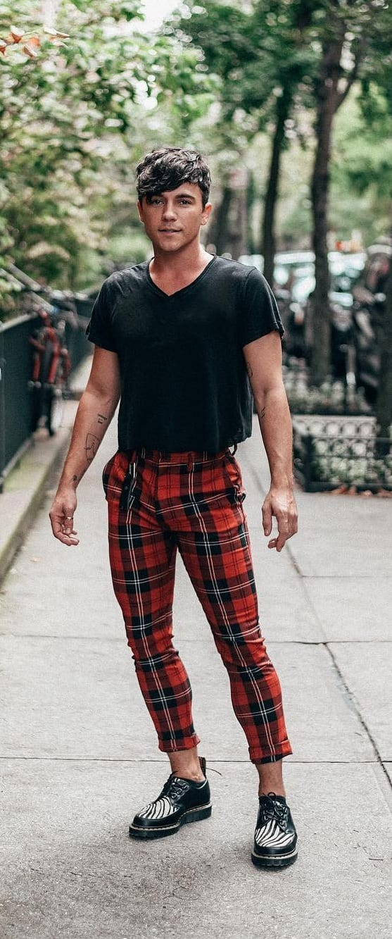 Black and red plaid pant idea for men