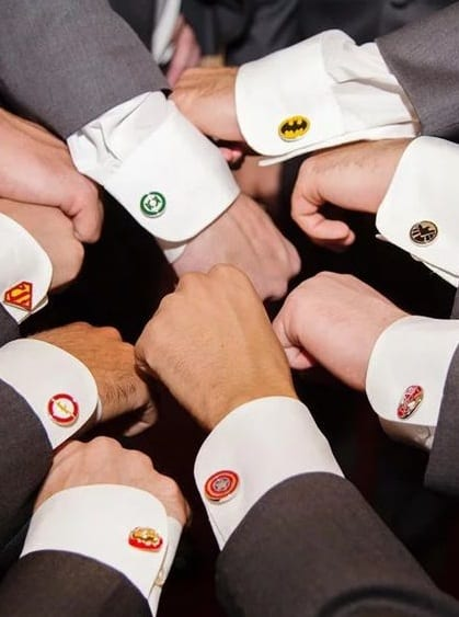 Black suit,white shirt,Superhero cuff links for men