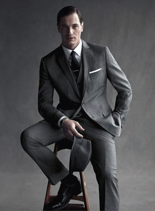 Charcoal grey lounge suit,White shirt, White pocket square,Black shoes for men