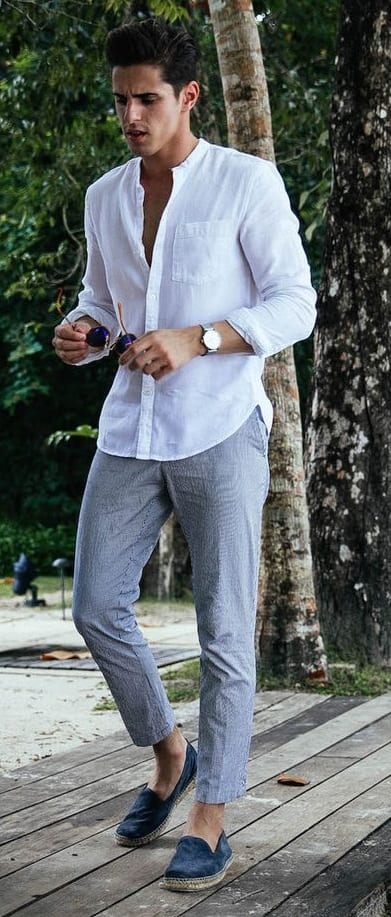 Chinos and white shirt and espadrilles