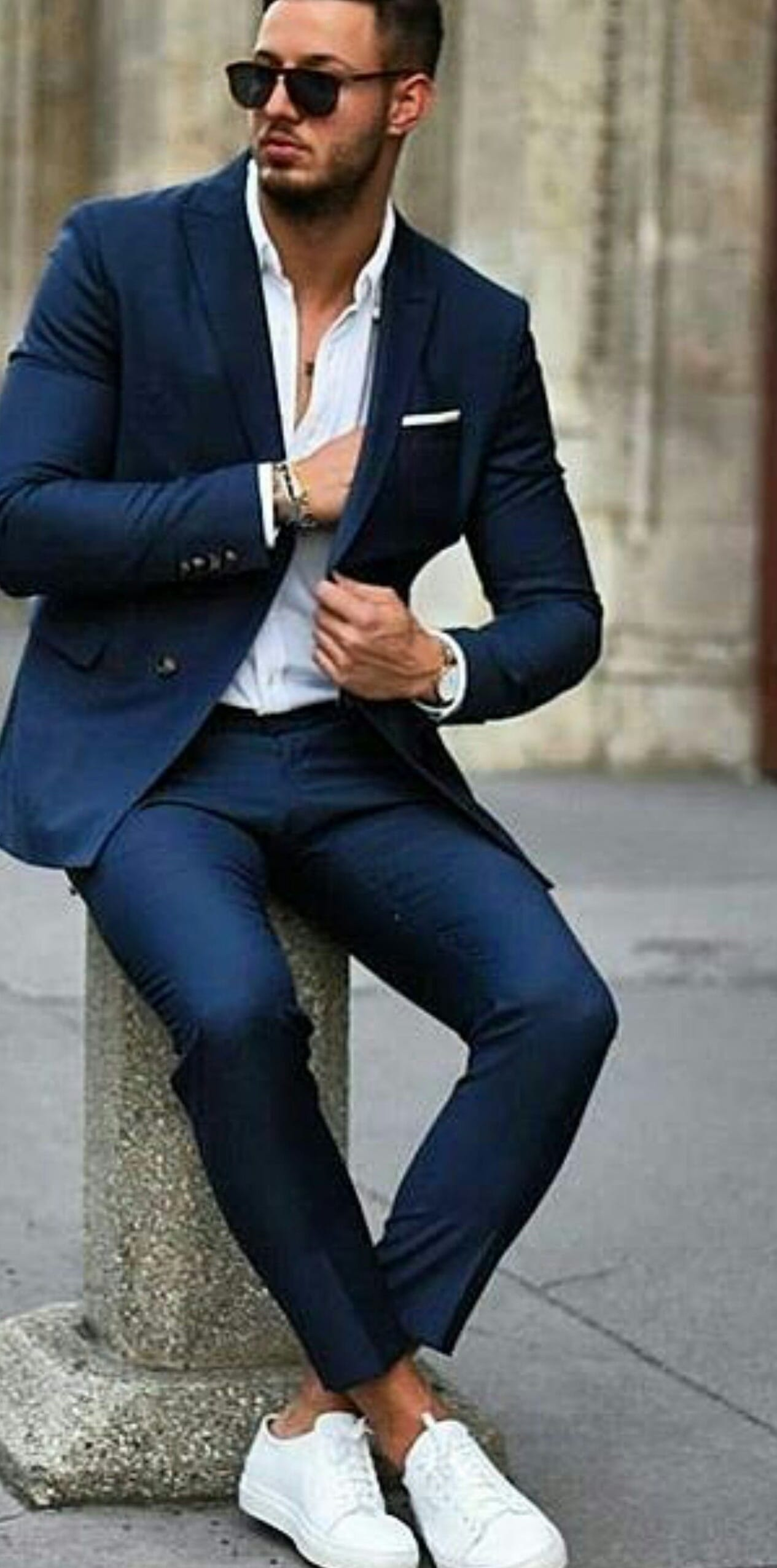 Full Suit- Blue Suit white shirt and white sneakers