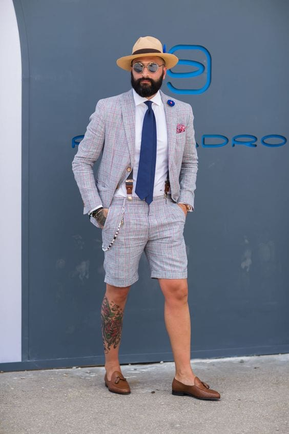 Grey plaid suit with shorts
