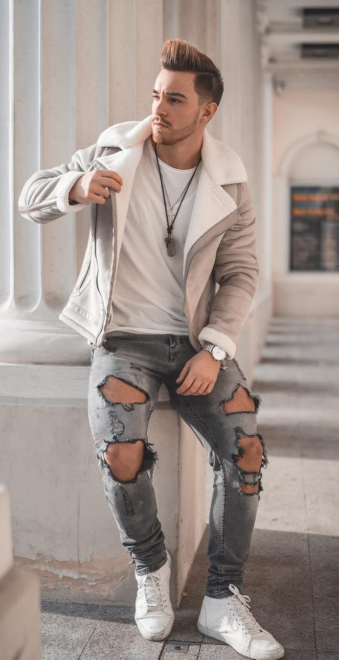 Hole Ripped Denim,White sneakers,Jacket