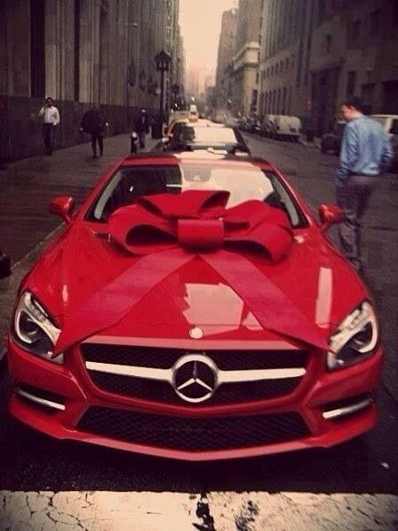 Mercedes with red bow