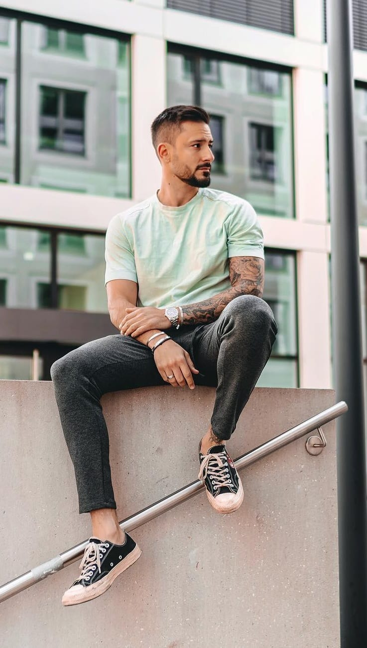 Mint green t-shirt,Sneakers,watch ideas for men
