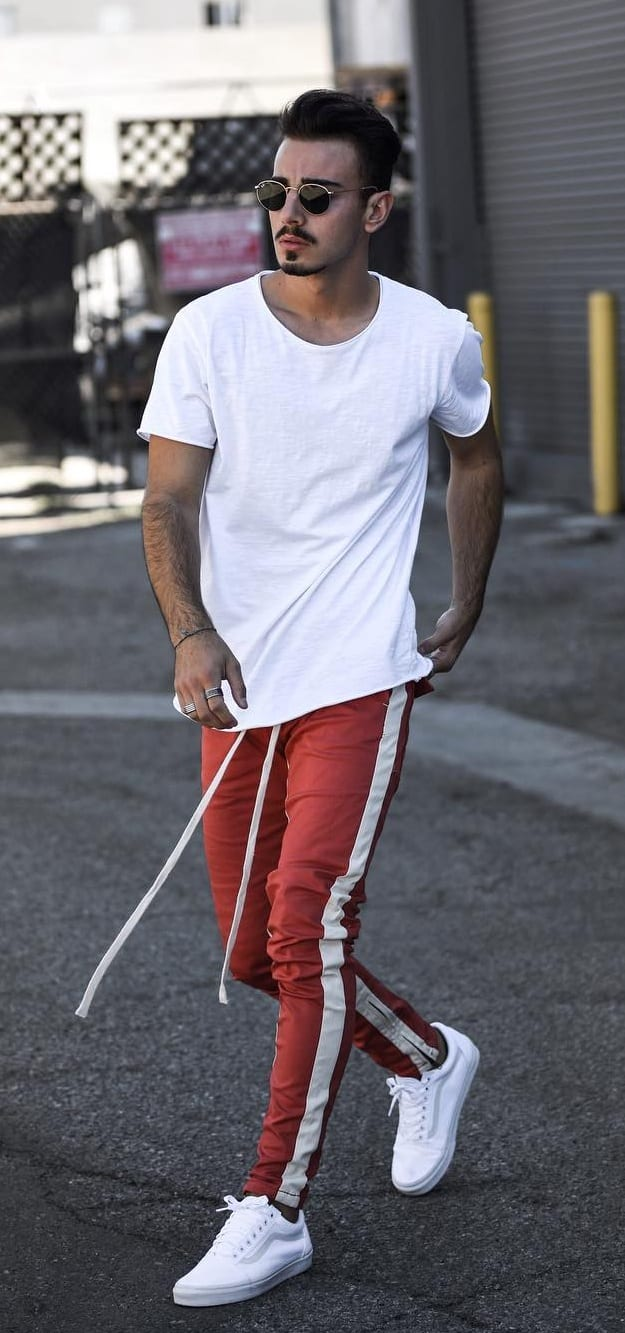 Red Joggers White t-shirt and White Sneakers