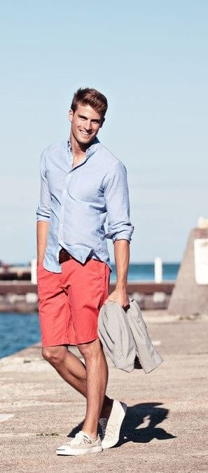 Red shorts and Blue linen shirt for men