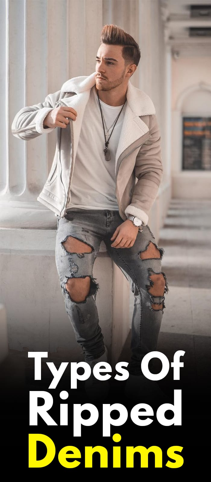 White T-shirt and Grey Ripped denim ideas