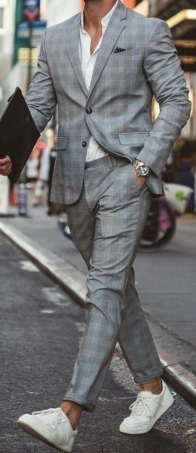 Grey plaid suit with white sneakers
