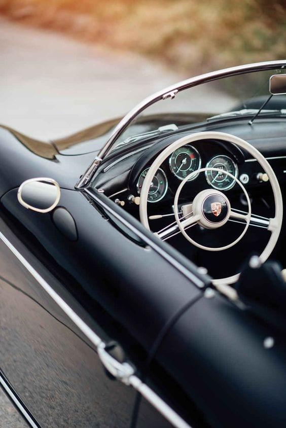 Porsche matte black vintage interior