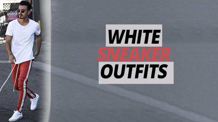 Red joggers,white t-shirt,white sneaker ideas for men