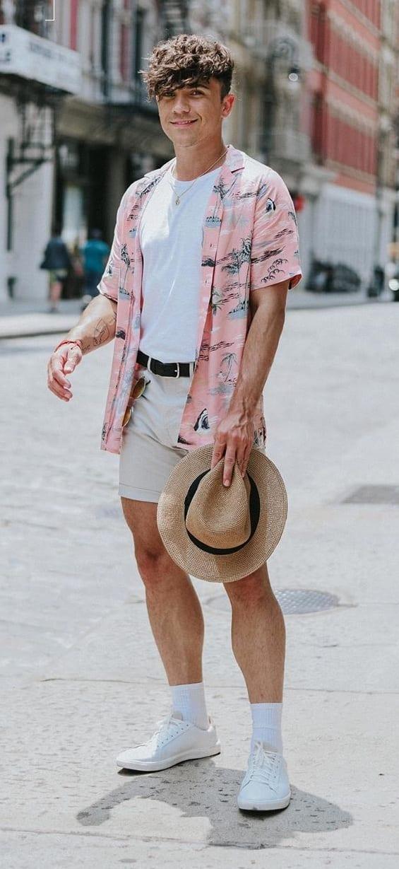 White Undershirt, Pink Shirt and Shorts