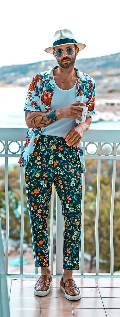 White Undershirt, Floral Shirt and Floral Pants