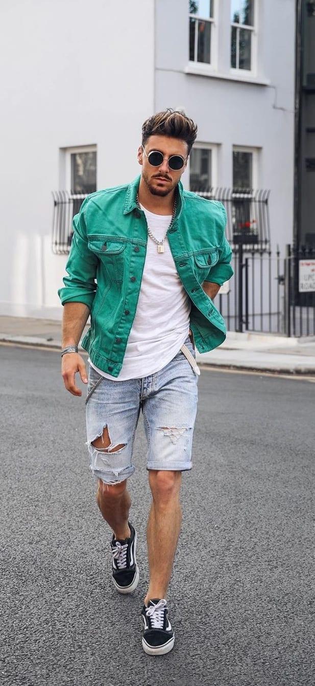 White Undershirt, Green Jacket and Denim Shorts