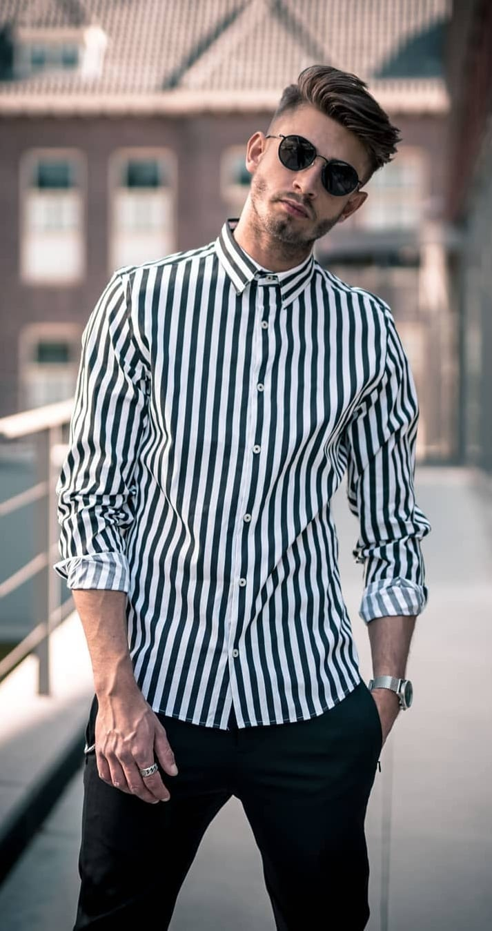 Black and White Vertical Striped Shirt Outfit