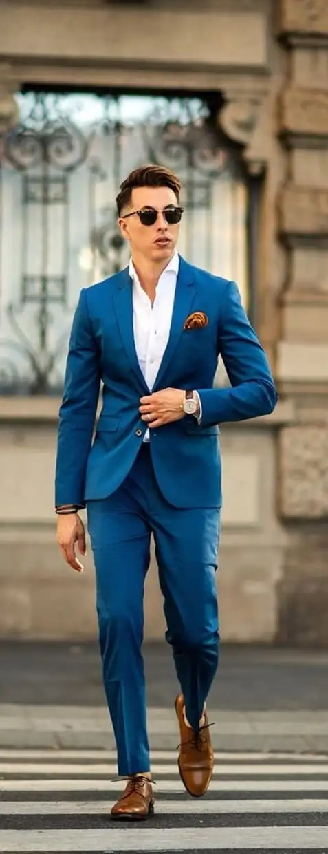 Blue Blazer, White Shirt and Blue Dress pants with a pocket square outfit ideas for men