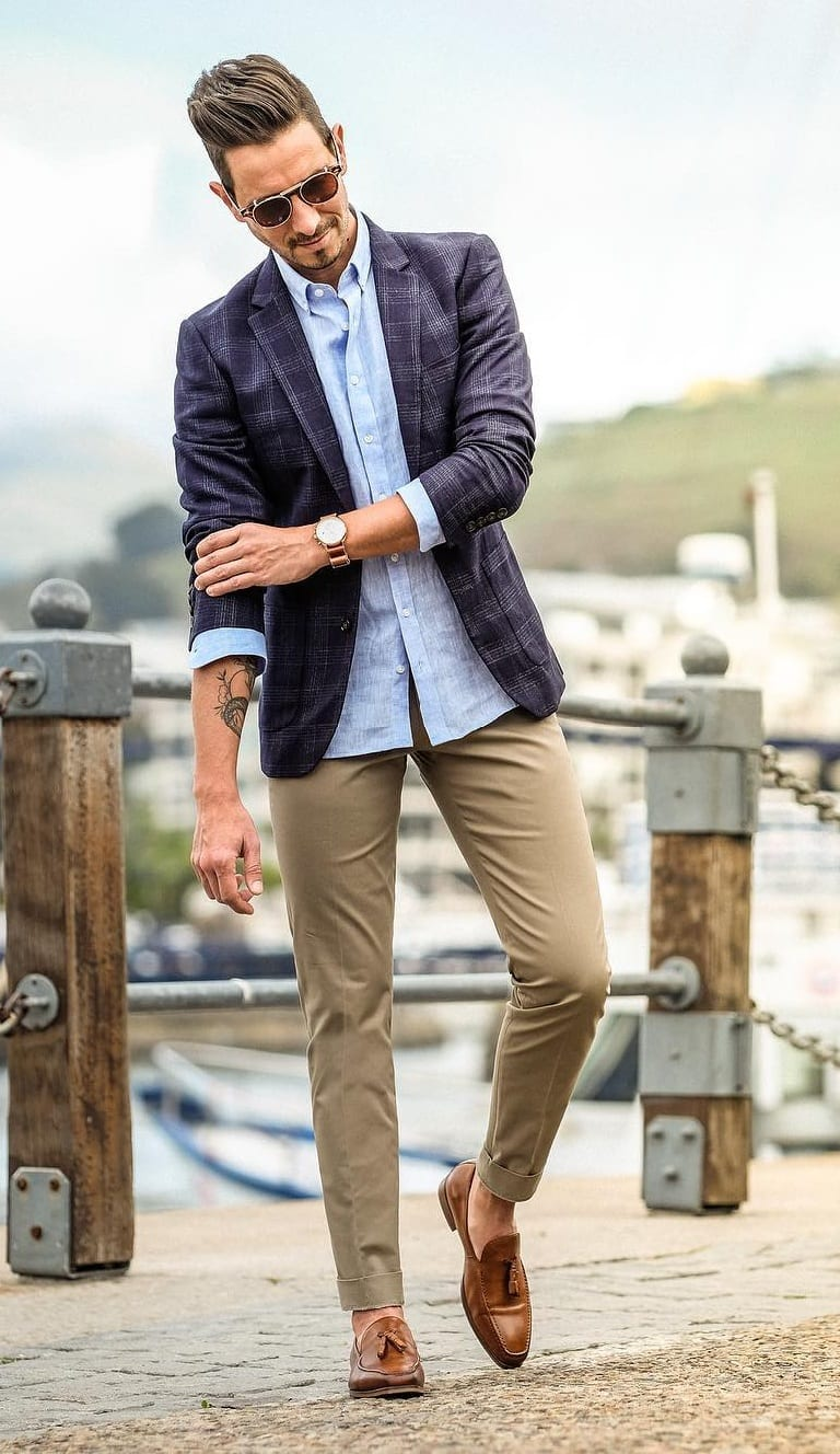 Blue Jacket,Light Blue Shirt,Chinos and Sunglasses for men