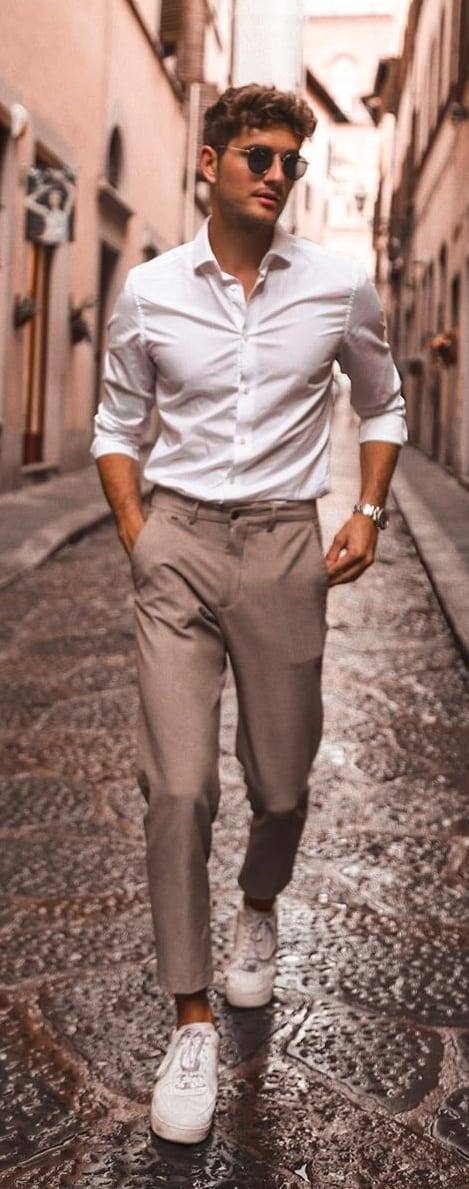 Classic White Shirt Khaki Pant Outfit with Sneakers