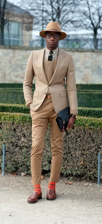 Faux Suit Style For Men with Beige Blazer,Fedora and Tie