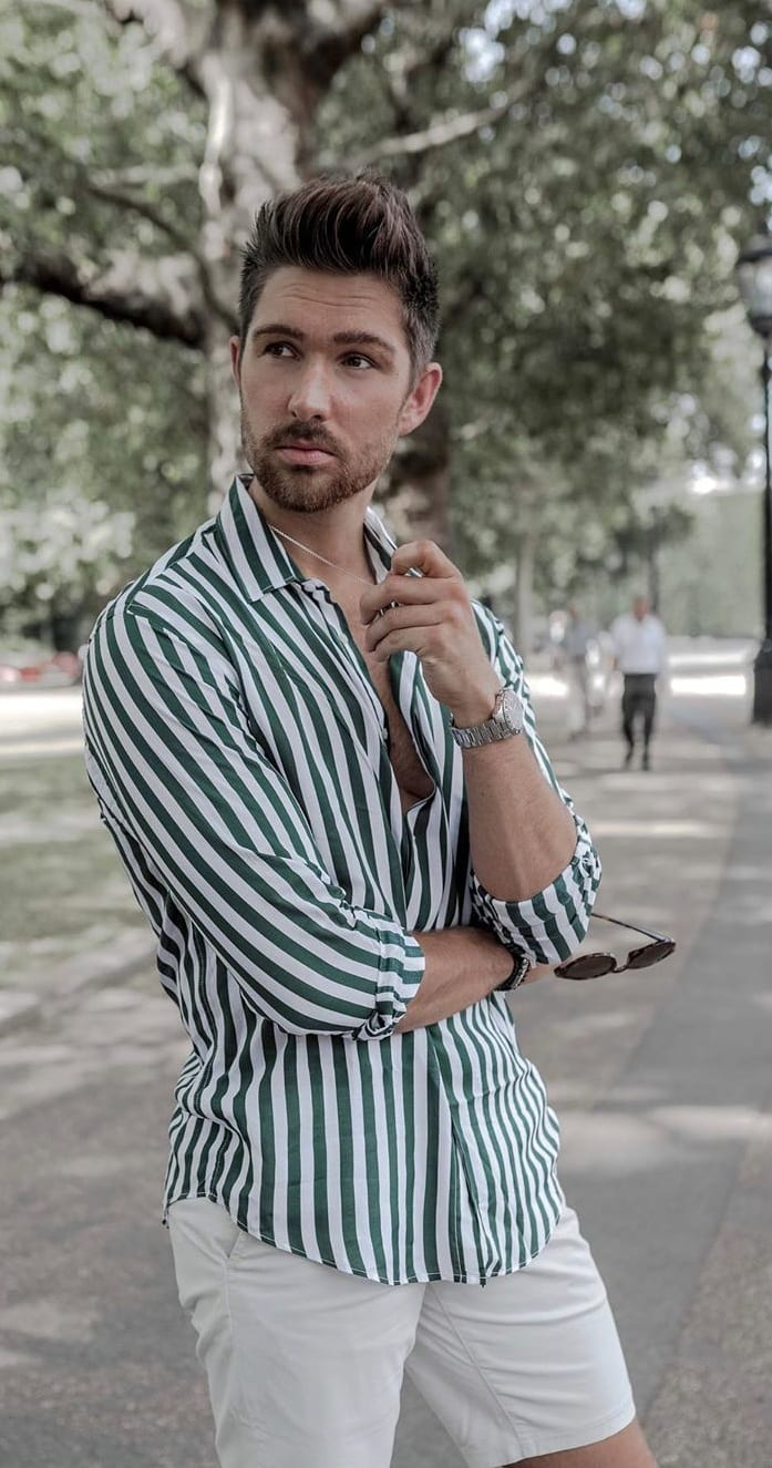 Green and White Vertical Striped Shirt Outfit